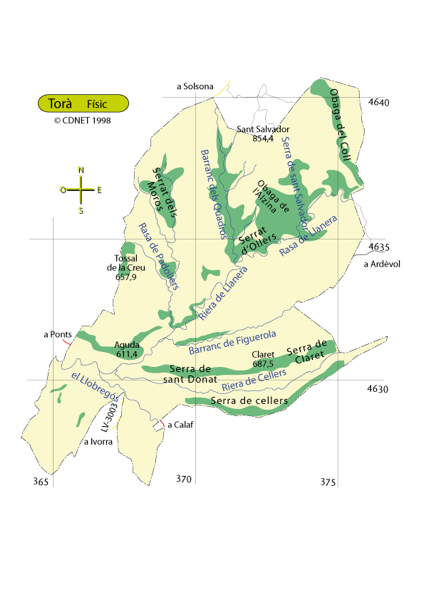 mapa físic del terme Foto: cdnet - Torà