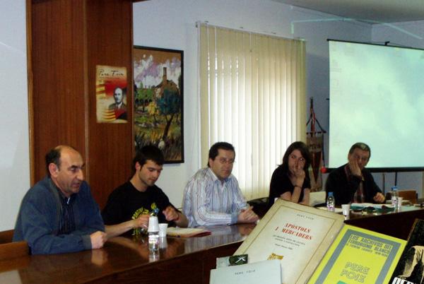 Presentació de la biografia de Pere Foix a Torà (2008)            Foto: Josep A. Vilalta - Torà