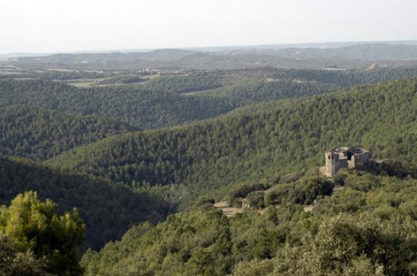 El castell de Llanera i el seu entorn vist des de Santa maria de Llanera