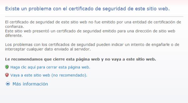 Pàgina d'error que mostra Internet Explorer. Cliqueu a Vaya a este sitio web (no recomendado).  -