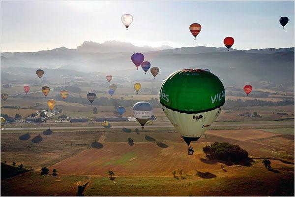 vista del conjunt de globus enlairats