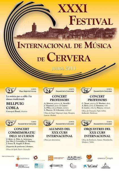 Cartell del 31è Festival Internacional de Música de Cervera -
