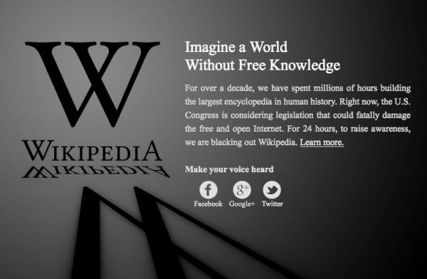 La versió anglesa de la  Wikipedia està tancada en senyal de protesta per la SOAP