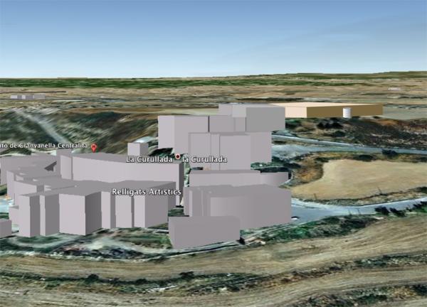 Simulació de l'emplaçament del dipòsit d'aigua - La Curullada