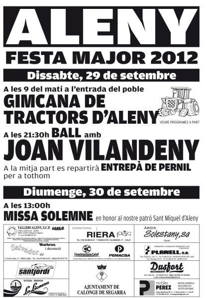 cartell Festa Major d'Aleny - Aleny
