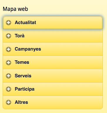Des de l'opció mapa, situada al peu de la pàgina,  també es pot accedir a qualssevol apartat de la versió móbil -