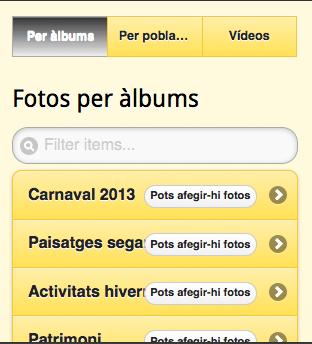Accés als àlbums de fotos -