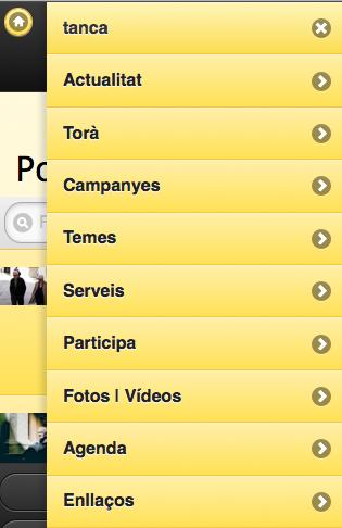 Al clicar en el menú principal es mostra les diferents seccions disponibles -