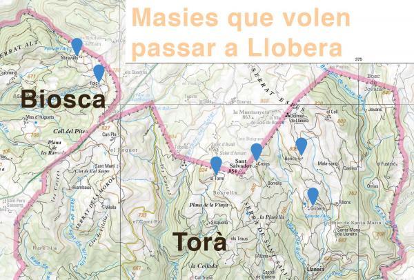 Mapa de les masies que volen passar a Llobera - Torà