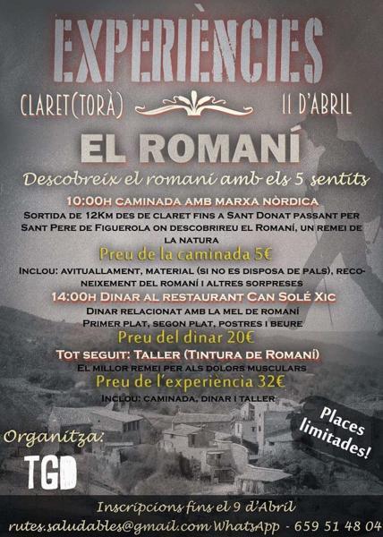 cartell Caminada de Claret a Sant Donat, descobreix el romaní
