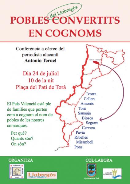 cartell Conferència Pobles del Llobregós convertits en cognoms
