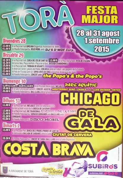 cartell Festa major Torà 2015