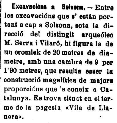 Notícia publicada l'1 de juliol de 1916, al diari El Pla de Bages, de Manresa, Foto: El Pla de Bages - Llanera