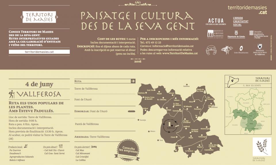 cartell Ruta Usos Populars de les plantes de Vallferosa