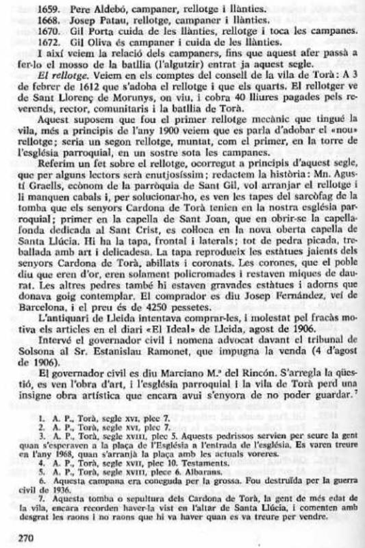 Jaume Coberó detalla en la seva obra ' Història Civil i Religiosa de la Vila de Torà' la venda del sepulcre Foto: editor - Torà