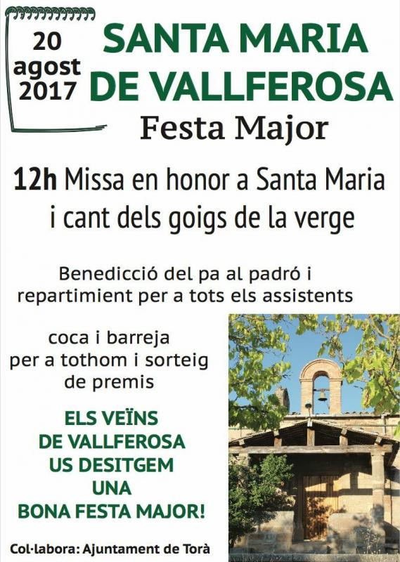 cartell Festa major de Vallferosa 2017