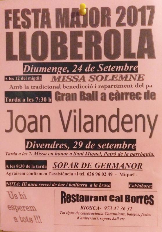 cartell Festa Major de Lloberola 2017