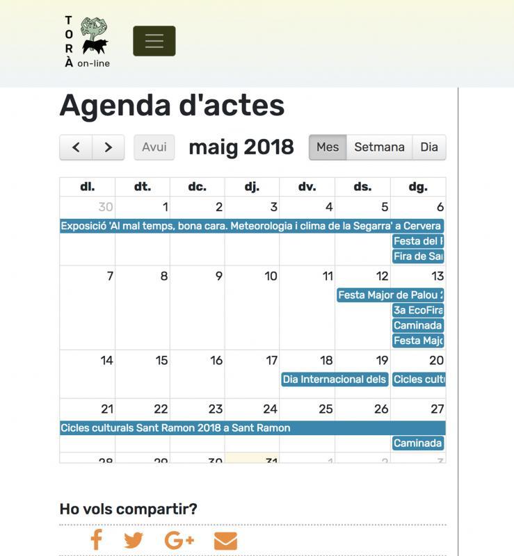 Agenda de la nova versió de Torà on-line, vista en smartphone -