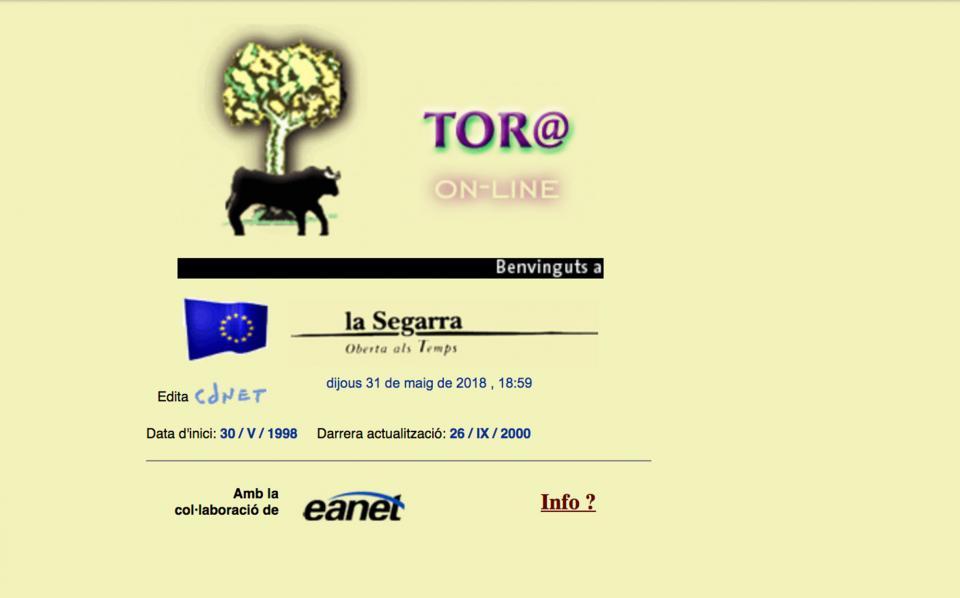 Versió de la web Torà on-line l'any 1999 -