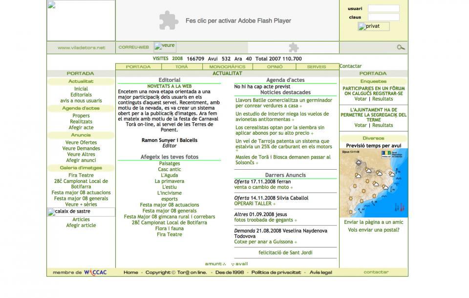 Versió de la web Torà on-line l'any 2008 -