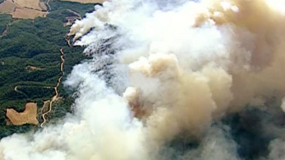 19.07.1998 Vista aèria del foc a Cardona  Cardona -  CCMA