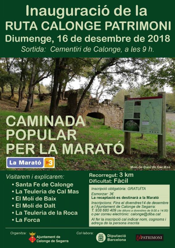 Caminada popular per la Marató a Calonge de Segarra
