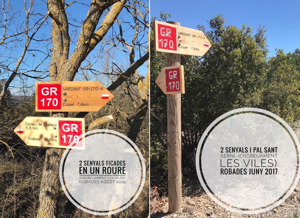 Senyalització robada a Les Viles - Torà