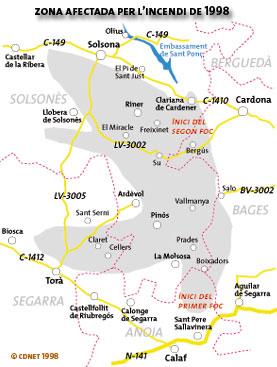 mapa de la zona cremada - Torà