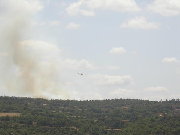 Vista del foc des de la carretera d'Ardèvol - Torà