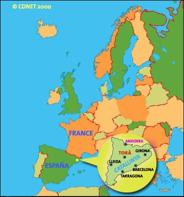 Situació de Torà en el marc europeu Foto: cdnet - Torà