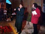 Lloll Bertran i Celdoni Fonoll van participar a la concentració devant l'ajuntament