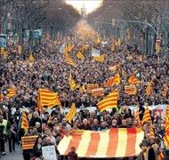 Detall de la manifestació per la independència a Barcelona