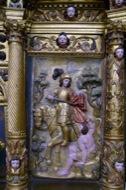 Llanera: Detall del retaule barroc de l'altar major de sant Martí de Llanera. Un bé patrimonial de Llanera expoliat pel municipi de Llobera l'any 1968.  Xavier Sunyer