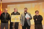 D'esquerra a dreta: Jaume Torra (URAPAC-UPA), Josep Maria Jové (JARC), Joan Caball (UP) i Albert Castelló (ASAJA) en el recompte de resultats en les eleccions a les Cambres Agràries