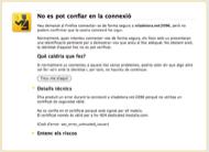 Pàgina d'error que mostra Firefox. Cliqueu l'opció Entenc els riscos.
