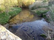 : Abril 2013. L'aigua del llanera arriba al pont de les Merites  Xavier