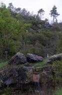 : Abril 2013. Les primeres pluges vessen pel saltalt de Fontanet  Xavier