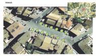 Simulació de l'aspecte de la plaça de la Creu amb arbres