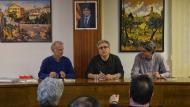 Jordi Solé, Josep Anton Vilalta i Albert Turull en la presentació del llibre 'Amb samfaina o sense' a Torà