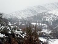 Cellers: Vista general de la vall de Cellers amb el monestir al fons  Ramon Sunyer i Balcells