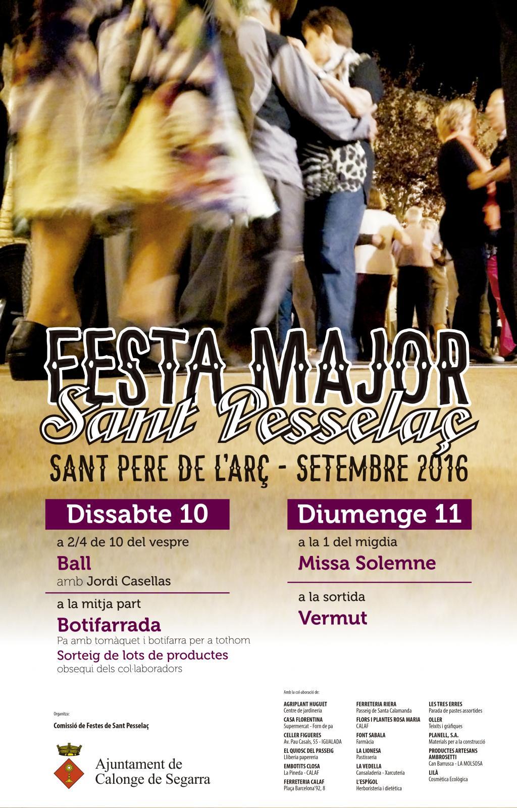 cartell Festa Major de Sant Pere de l'Arç 2016