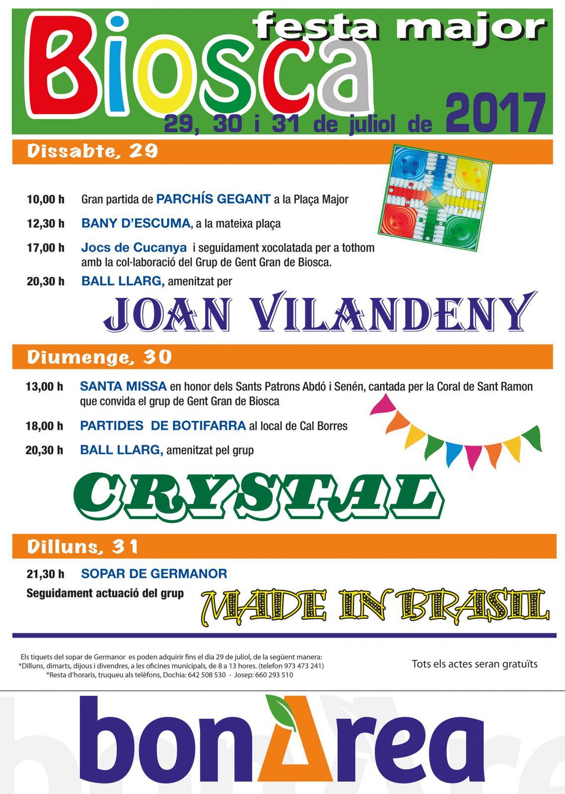 cartell Festa major de Biosca 2017