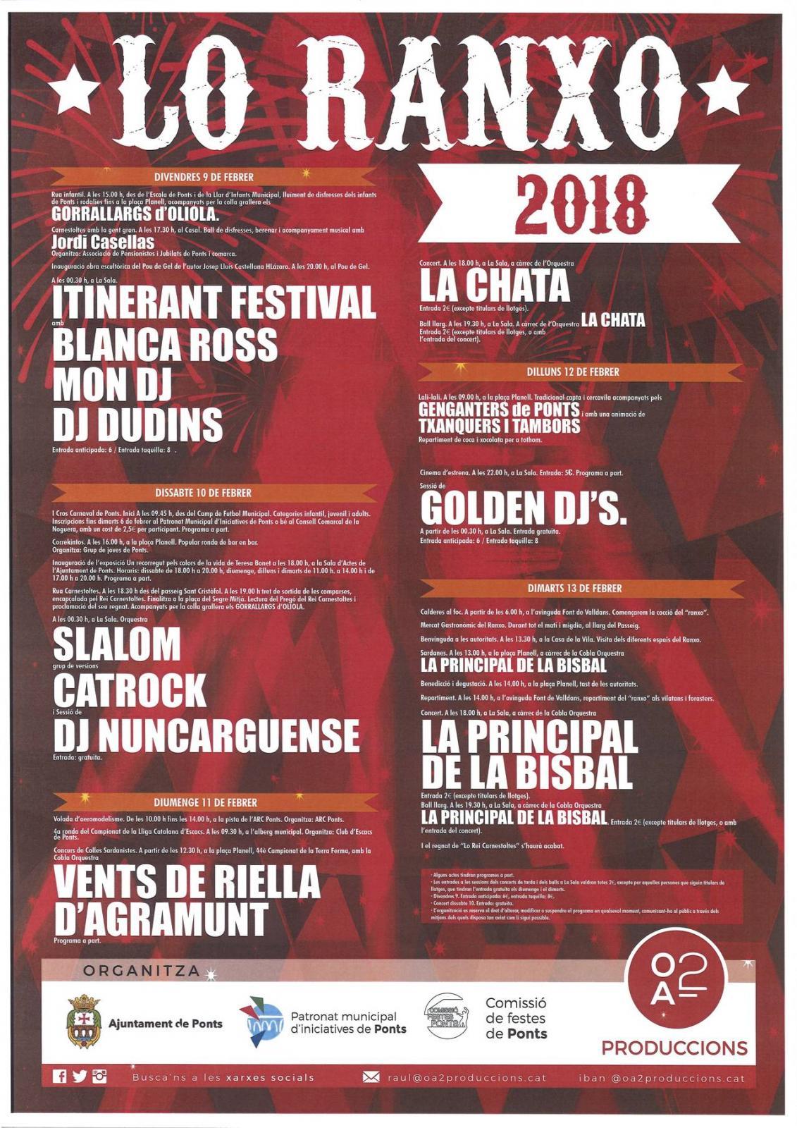 cartell Lo Ranxo de Ponts 2018