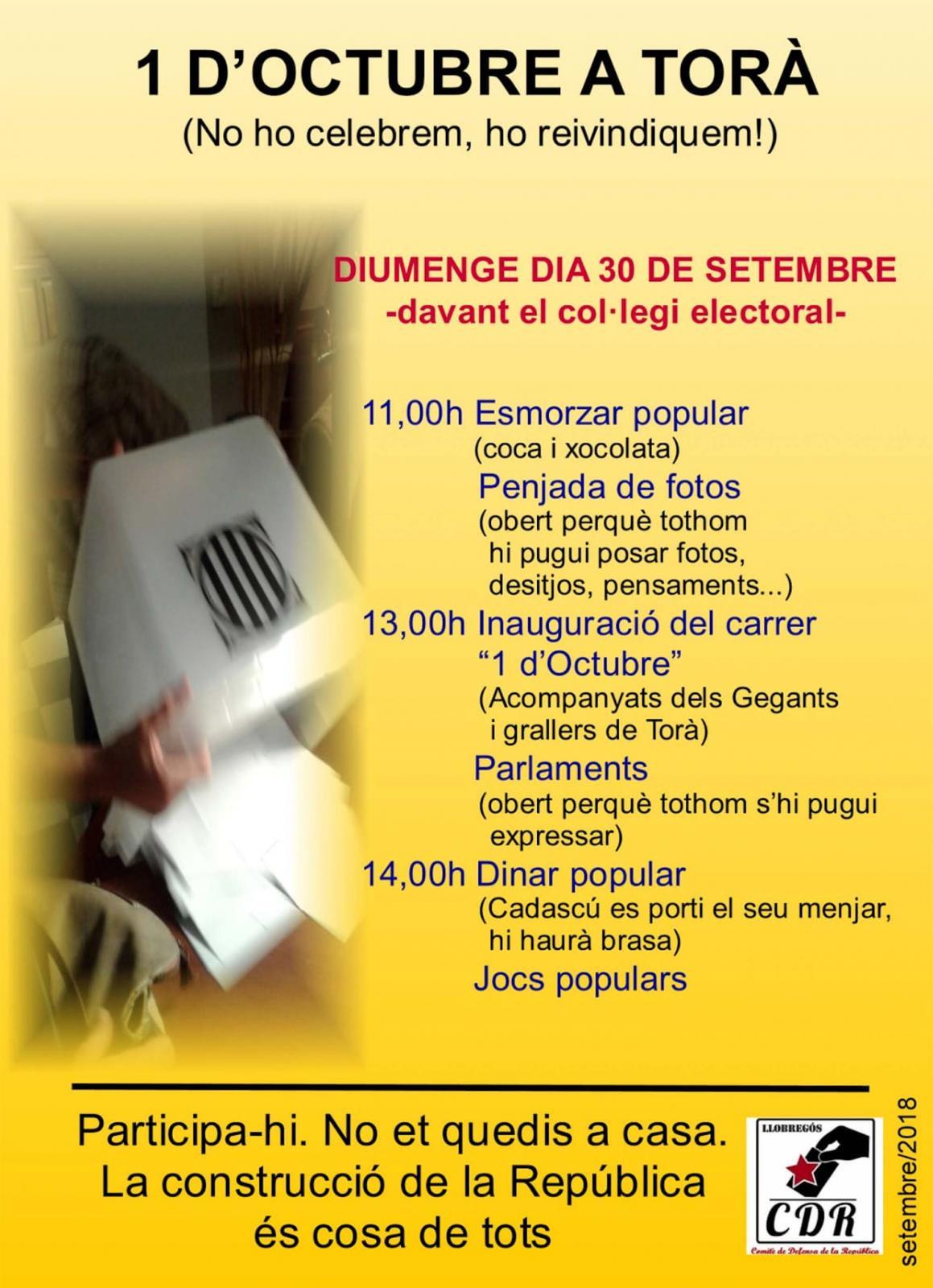 Jornada reivindicativa de l'1 d'octubre a Torà