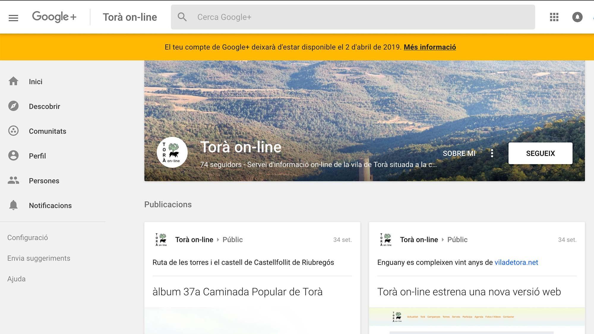 Tancament de les pàgines personals de Google+