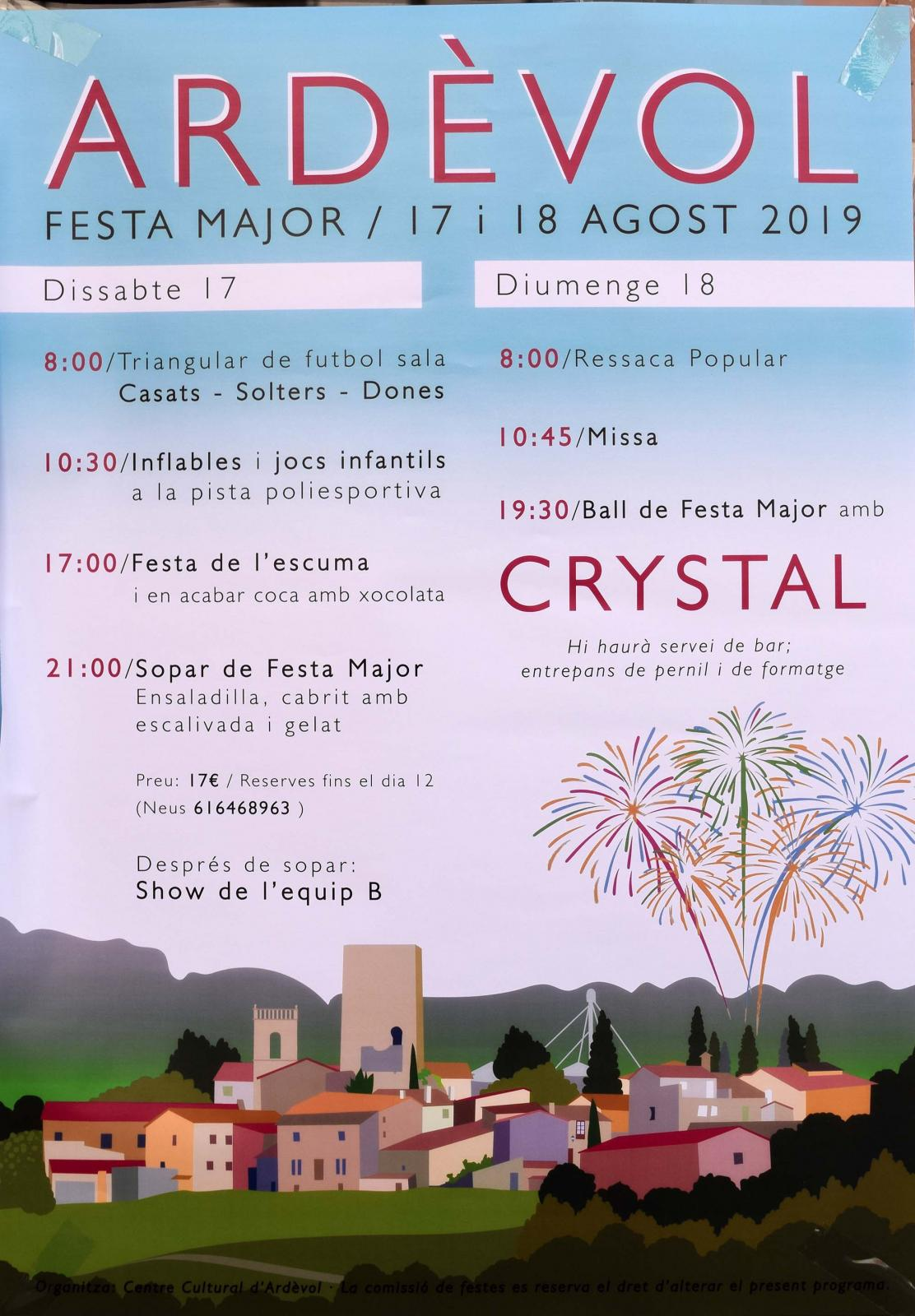 cartell Festa major d'Ardèvol 2019
