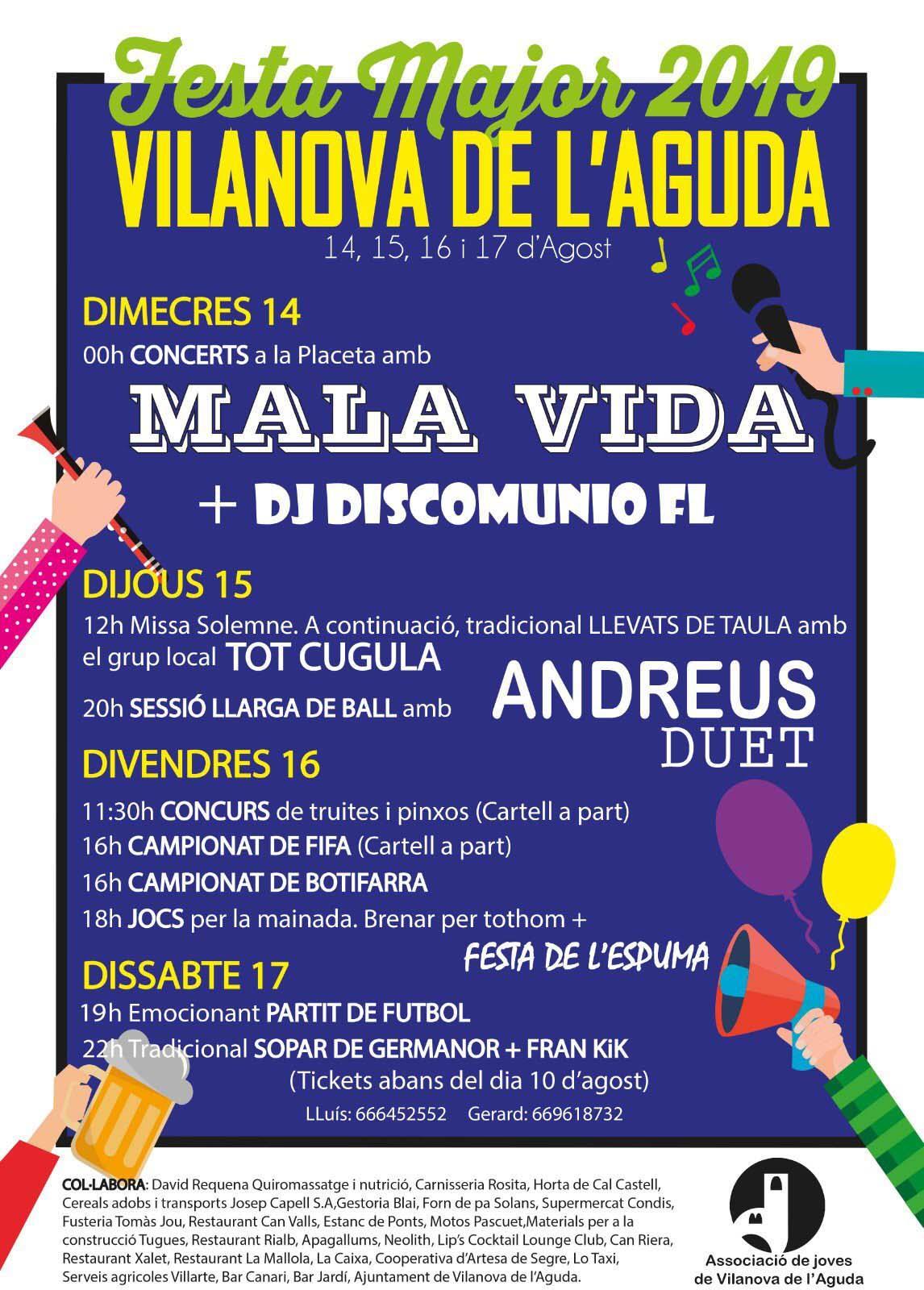 cartell Festa Major de Vilanova de l'Aguda 2019