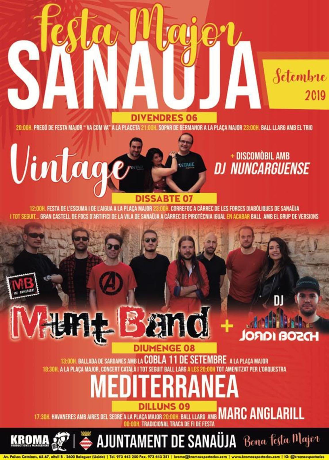 cartell Festa Major de Sanaüja 2019