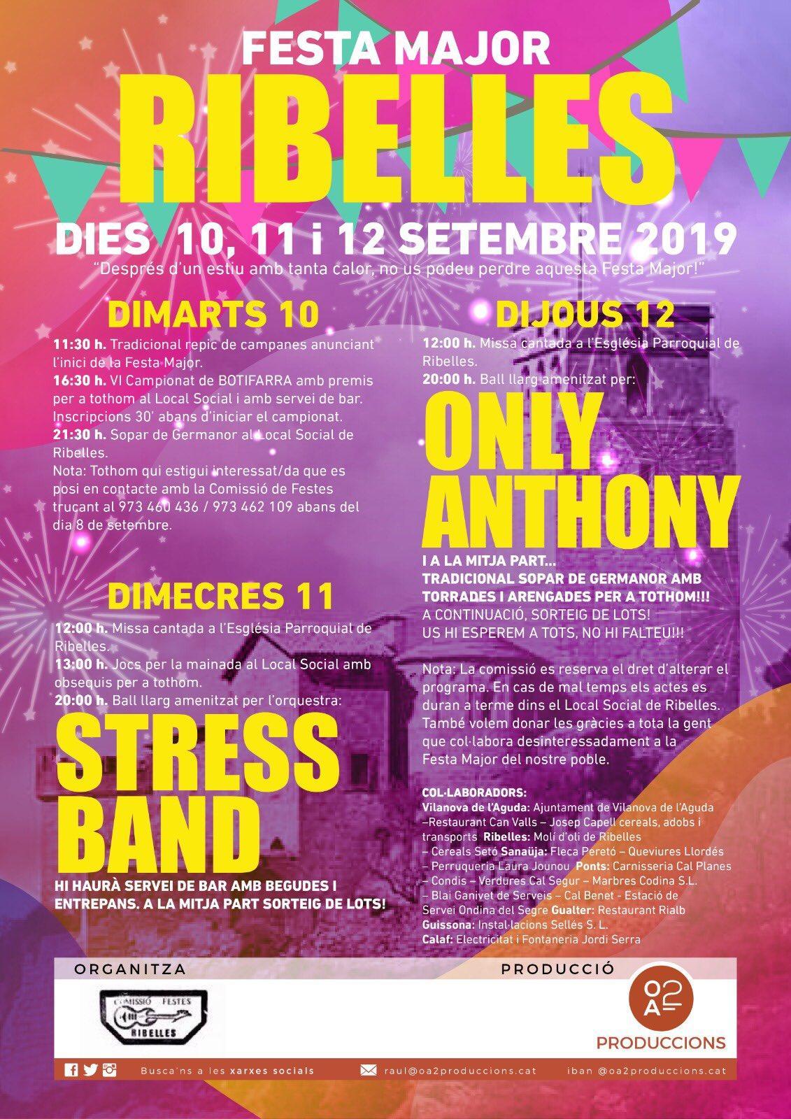 cartell Festa Major de Ribelles 2019